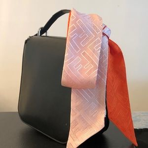 Fendi FF logo skinny scarf silk wrappy pink orange